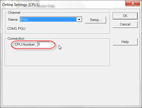 Parametr CPU Number w PG5 1.4