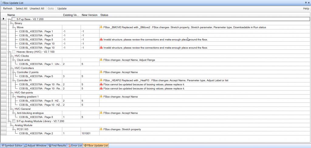 Lista bloczków do zaktualizowania
