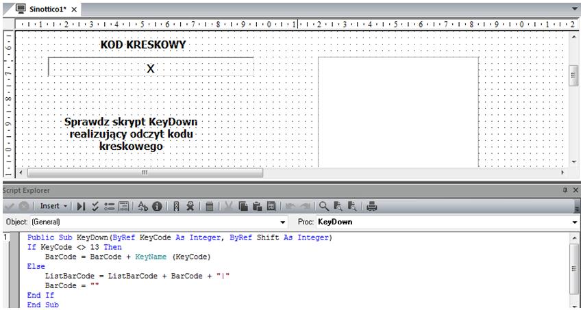Przykład projektu zawierającego odczyt kodów z czytnika kodów kreskowych w Premium HMI